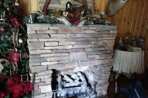 <p>Fireplace converted to gas logs</p>