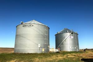 <p>Two grain bins and owned propane on premises.</p>