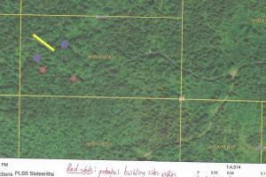 #14 20 Acres Hunting, Recreational, Woods, Timber, Finland: map showing potential bldg sites, etc