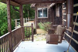 Front patio on log cabin portion