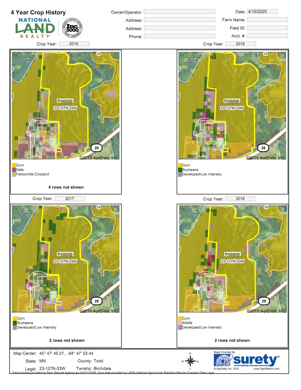 AgriData - 4 Yr Crop History Map<br>(Doc 1 of 13)
