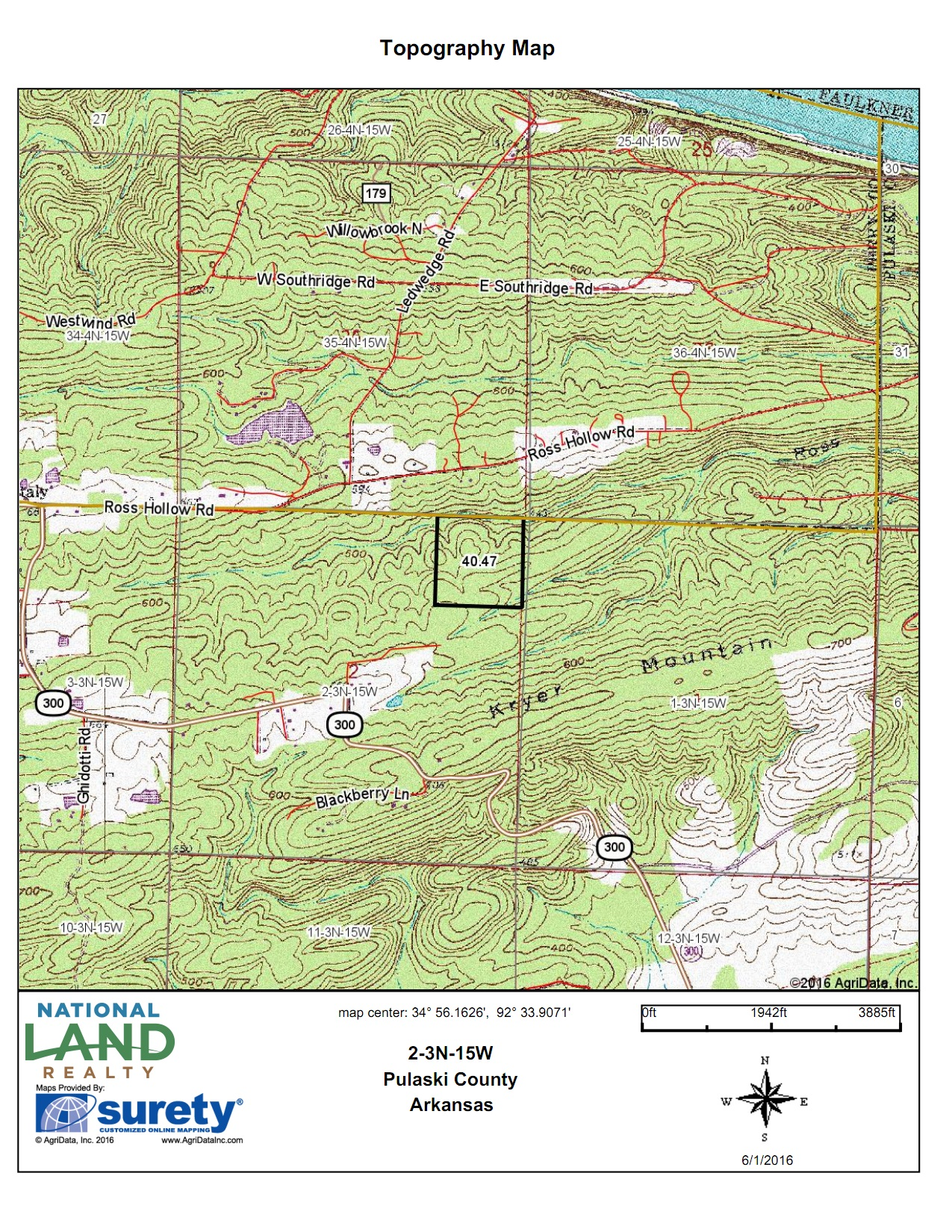 40 Acre Kryer Mountain Timber And Wildlife In Pulaski County Arkansas